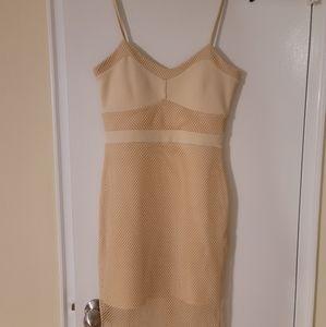 UK2LA Tan/Cream Mesh Dress